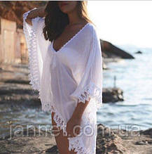 Пончо пляжное белое - размер универсальный (длина 69см, ширина 101см), под руками не сшито, шифон
