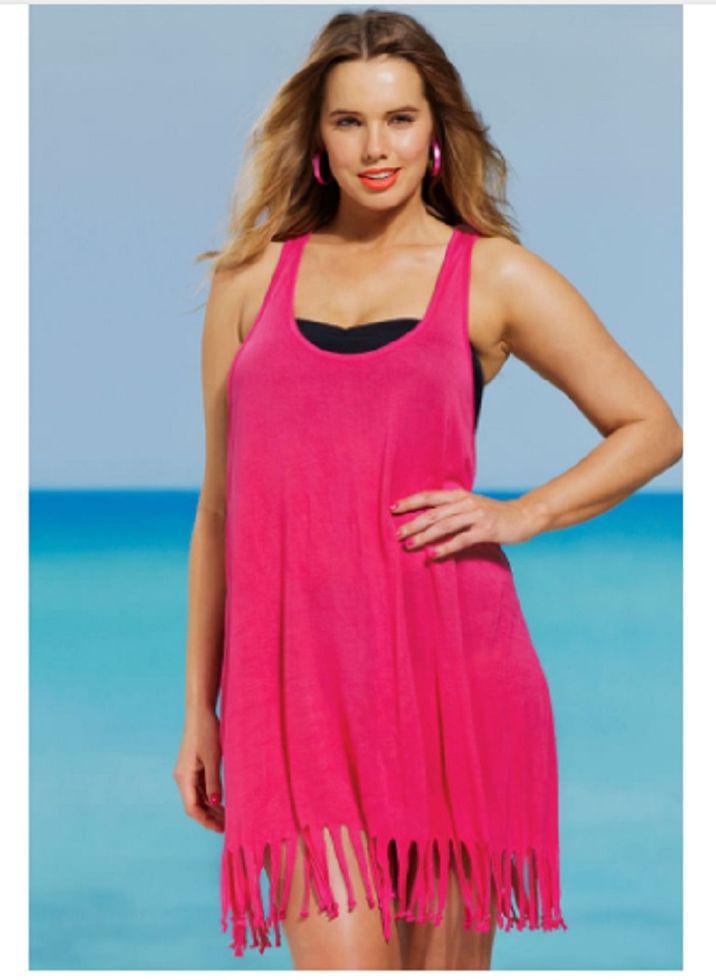 Пляжное парео-майка розовая - L бюст 92см, длина 86см, 35% полиэстер, 65% cotton