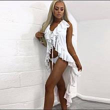 Пляжный белый халат из шифона - S(42р.) - бюст 84см, длина сзади 124см, шифон