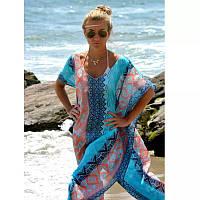 Пляжное платье женское голубого цвета - размер универсальный (бюст до 110-115см, длина 119-122см), шифон