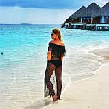 Накидка пляжная черная, прозрачная - S(42р.) бюст 84см, длина 133см, 35% полиэстер, 65% хлопок, фото 2