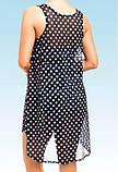 Пляжный сарафан в горох, черный, шифон - XL(46р.) бюст 88см, длина 82см, фото 4