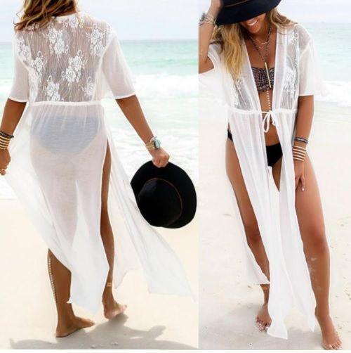 Пляжный белый халат - L(44-46р.) бюст 88-92см, длина 125-128см, шифон