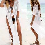 Пляжный белый халат - L(44-46р.) бюст 88-92см, длина 125-128см, шифон, фото 5