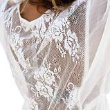Пляжный белый халат - L(44-46р.) бюст 88-92см, длина 125-128см, шифон, фото 7