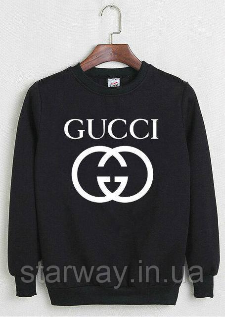 Свитшот чёрный Gucci logo | Кофта стильная
