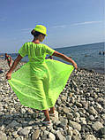 Пляжный халат в пол ярко-салатовый - S(42р.) бюст 84см, длина 133см, шифон, фото 2