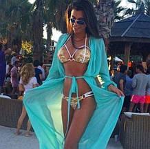 Халат парео для пляжа голубой с рукавами - S(42р.) бюст 84см, длина 133см, шифон