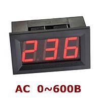 Вольтметр переменного тока цифровой 0-600В DC Красный в корпусе, фото 1