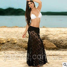 Пляжная юбка черная - 42-46 размер, 100% полиэстер, длина 90см