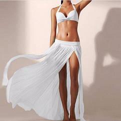 Белая пляжная юбка - 42-46 размер, длина 88-90см, 95% полиэстер, 5% спандекс
