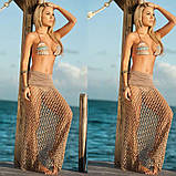 Пляжная юбка бежевая - 42-46 размер, длина 100см, 100% полиэстер, фото 2