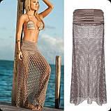 Пляжная юбка бежевая - 42-46 размер, длина 100см, 100% полиэстер, фото 3