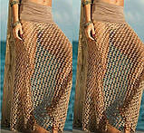 Пляжная юбка бежевая - 42-46 размер, длина 100см, 100% полиэстер, фото 4