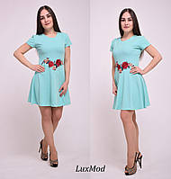 Платье с вышивкой, мята, фото 1