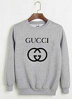 Свитшот серый Gucci logo | Кофта стильная