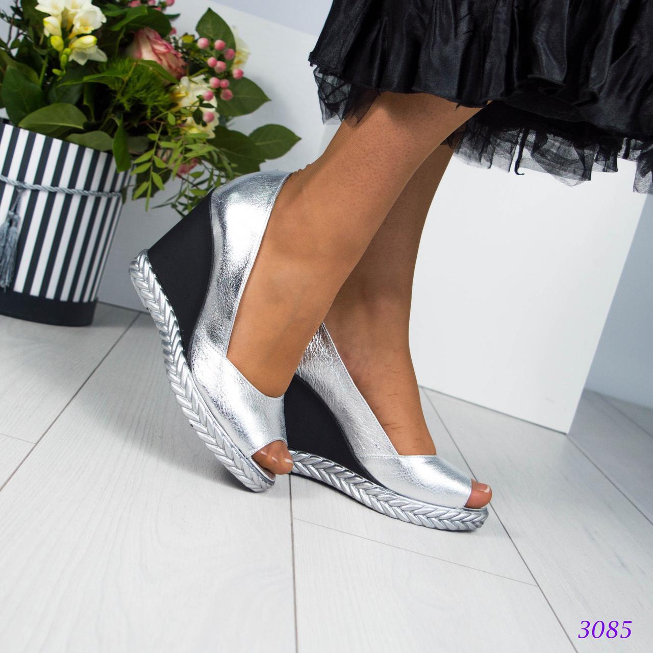 Шикарные туфли на танкетке с открытыми пальчиками