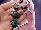 Ожерелье с лабрадором. Красивое ожерелье с камнем лабрадор в серебре. Индия!, фото 3