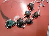 Ожерелье с лабрадором. Красивое ожерелье с камнем лабрадор в серебре. Индия!, фото 5