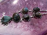 Ожерелье с лабрадором. Красивое ожерелье с камнем лабрадор в серебре. Индия!, фото 2