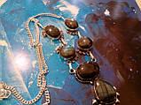 Ожерелье с лабрадором. Красивое ожерелье с камнем лабрадор в серебре. Индия!, фото 6