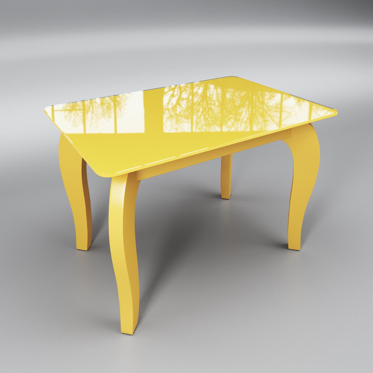 Стеклянный стол Император мини (журнальный) желтый