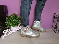 Ботинки женские серебристые, демисезонные