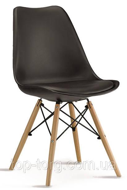 Стілець DS-263 Eric чорний, м'яке сидіння, дерев'яні ніжки