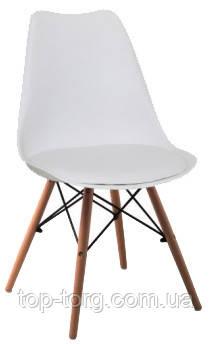 Стул DS-263 Eric белый, мягкое сиденье, деревянные ножки