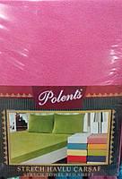 Махровые простыни на резинке с наволочками 70*70. Розовый.