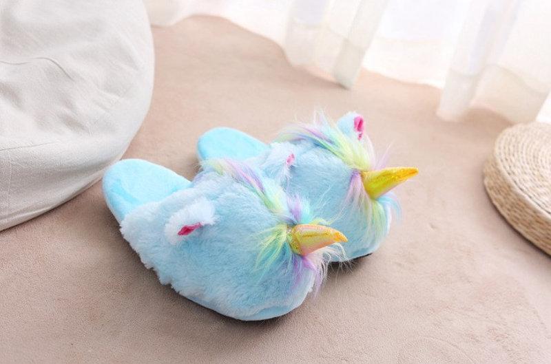 Домашние тапочки игрушки Единороги голубые