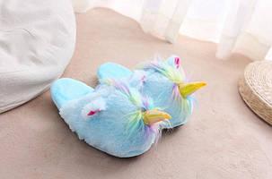 Домашние тапочки игрушки Единороги голубые, фото 2