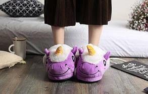 Домашние тапочки игрушки Единорог Фиолетовые, фото 2