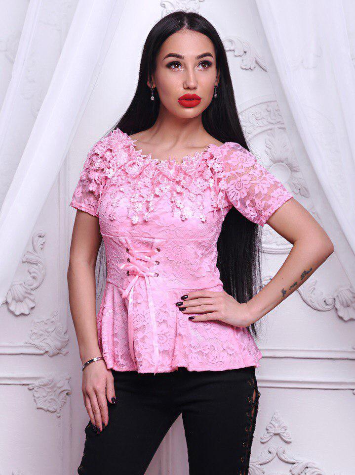 Потрясающая розовая кружевная блузочка