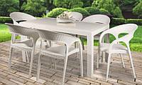Стол пластиковый OW-T209S SPRING белый, прямоугольный, имитация ротанга