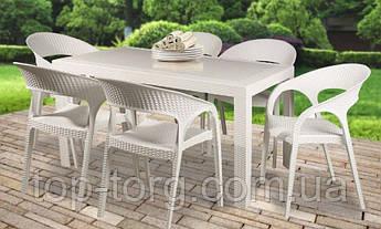 Стол пластиковый OW-T209R SPRING белый, прямоугольный, имитация ротанга