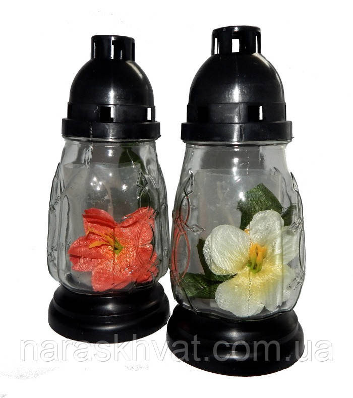 Лампадка со свечой стекло прозрачное+тканевый цветок