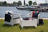 Два комфортних крісла з м'якими подушками та столик CORFU WEEKEND білий (Allibert), фото 2