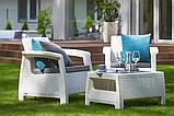 Два комфортних крісла з м'якими подушками та столик CORFU WEEKEND білий (Allibert), фото 4