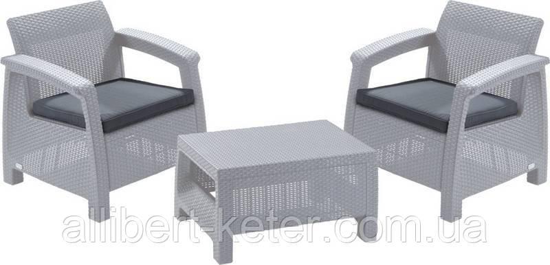 Два комфортних крісла з м'якими подушками та столик CORFU WEEKEND білий (Allibert)