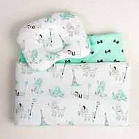 Комплект в детскую коляску BabySoon Пудели в Париже одеяло 65х75 см подушка 22х26 см цвет мятный, фото 1