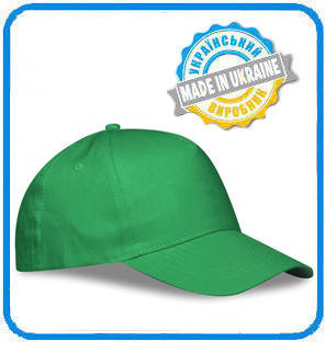 Зеленая рекламная кепка пятиклинка ПРОМО
