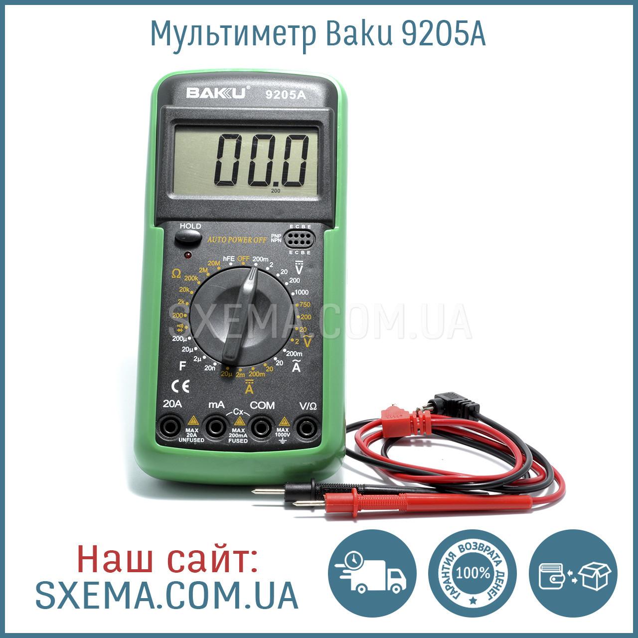 Мультиметр Baku BK-9205A с измерением конденсаторов, напряжения, силы тока
