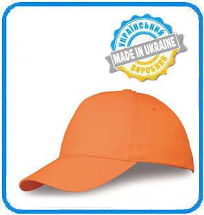 Оранжевая рекламная кепка пятиклинка ПРОМО