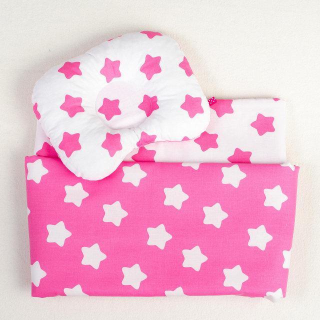 Комплект в детскую коляску BabySoon Розовые звездочки одеяло 65х75 см подушка 22х26 см розовый