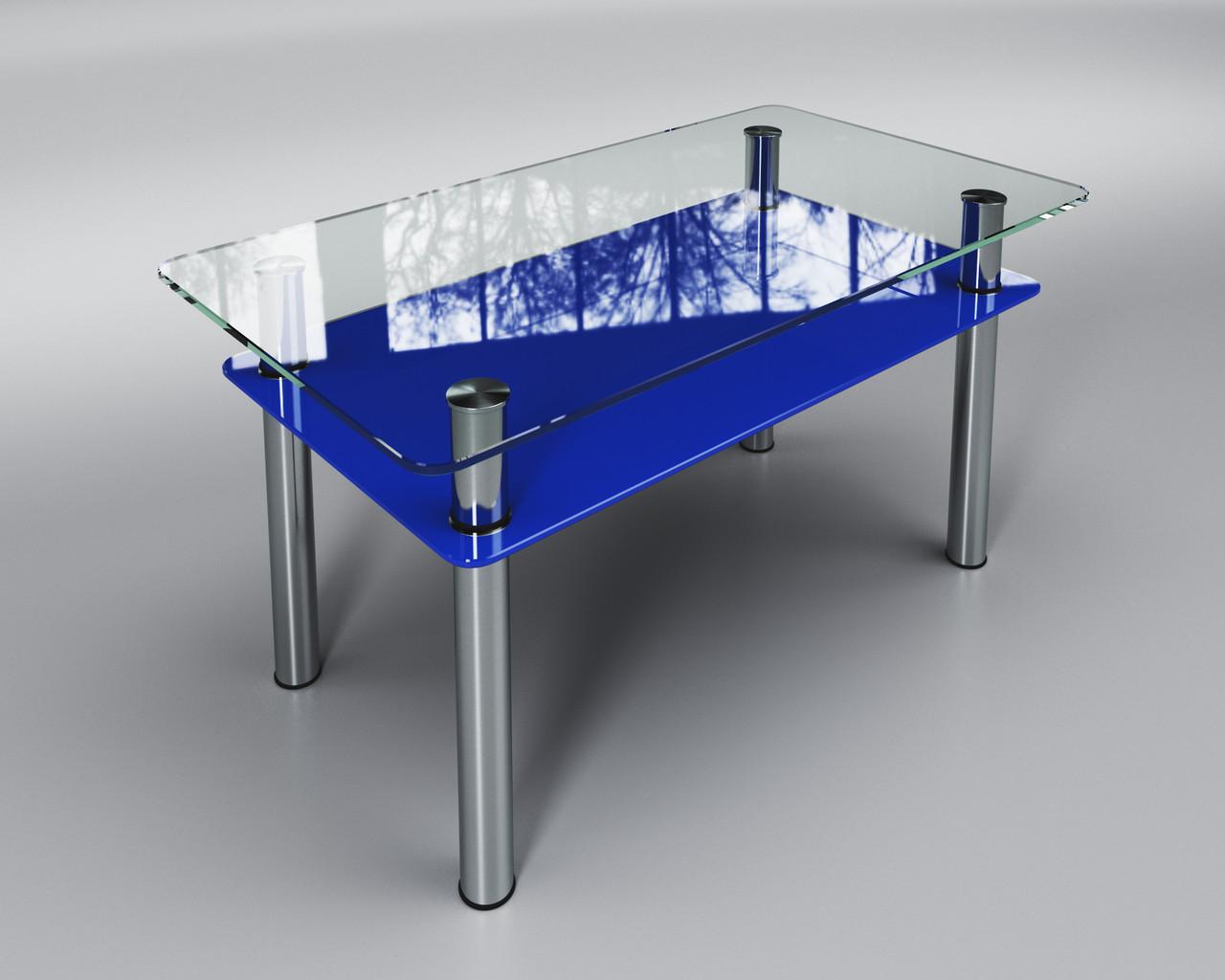 Стеклянный стол Вега с полкой (журнальный) синий