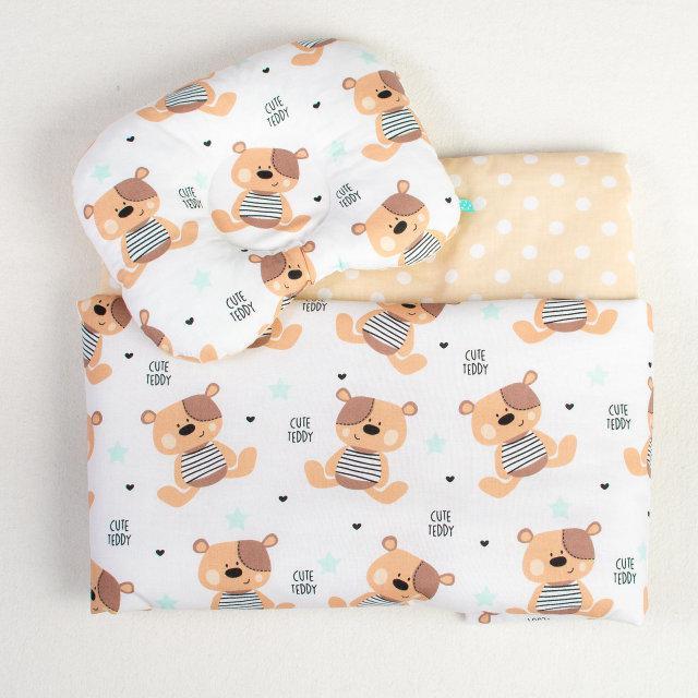 Комплект в коляску BabySoon Мишки Тедди одеяло 65х75 см подушка 22х26 см бежевый