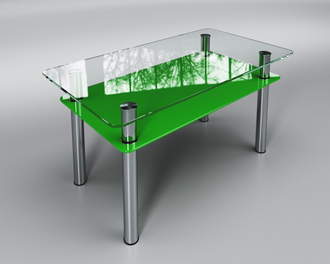 Стеклянный стол Вега с полкой (журнальный) зеленый