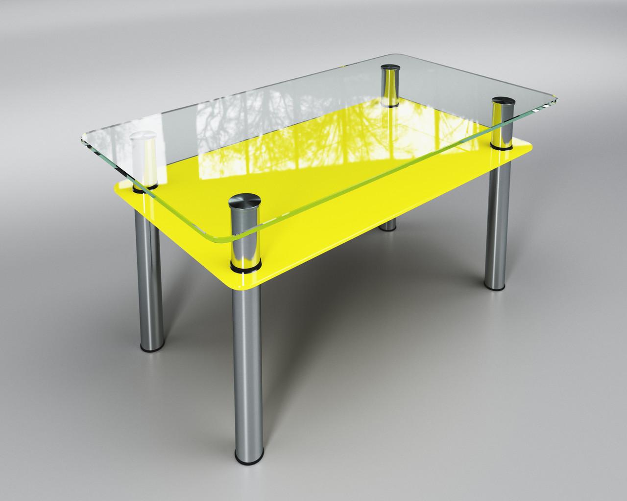 Стеклянный стол Вега с полкой (журнальный) желтый