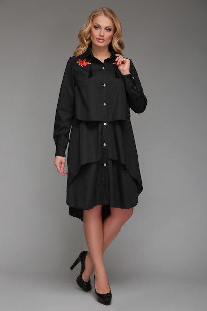 Платье-рубашка Троя черного цвета (52-58)